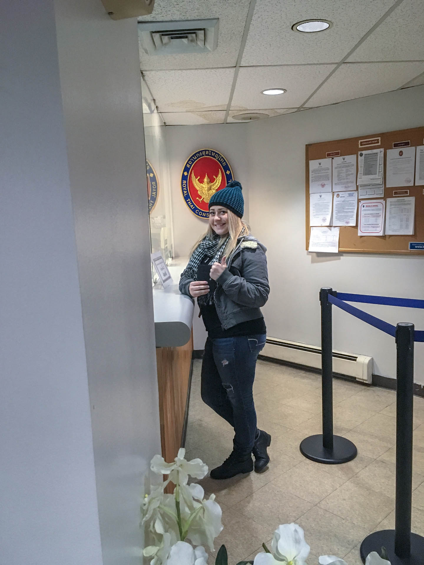 Lauren turning in her visa application at the Thai Consulate in New York City.